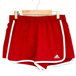 Adidas Climalite Small Shorts Run Drawstring Red
